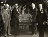 Presenting Crate of Oranges to Governor James Rolph Jr.