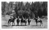 "Horseback Riding at Keddie Resort, ""Ski Hill"" in Distance Feather River Canyon, California"