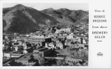 View of Bisbee Arizona from above Brewery Gulch