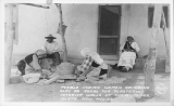 Pueblo Indian Women Grinding Clay or Adobe for Plastering Interior Walls of Their Homes, Isleta, New