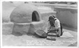 Grinding Clay and Ancient Pottery to be Used in Pottery Making, Isleta Pueblo, New Mexico